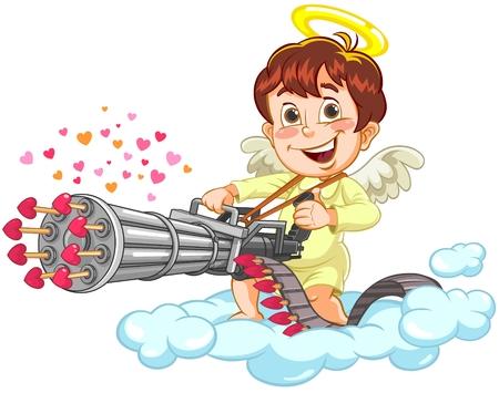 Cupid Shooting Illustration