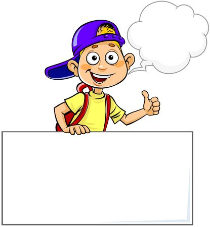 cartoon bubble: Child holding Blank sign and gesturing Thumb Up.