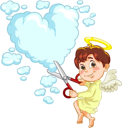 Little Baby Engel schneidet großes Herz aus Wolken