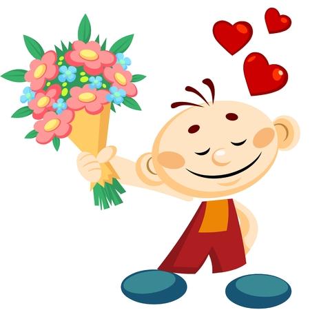 Cartoon smiling boy gives a flowers at Valentines day