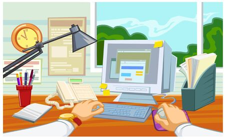 Vector illustration of a businessman workplace in the office with desk computer