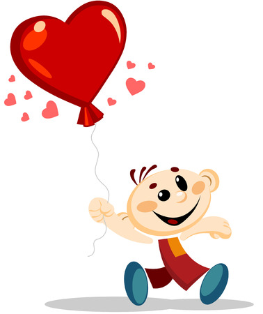 Vector illustration of a walking Boy with large heart shaped Air balloon. Ilustracja