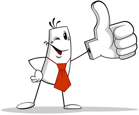 A vector illustration of a cartoon man holding thumbs up sign or LIKE symbol