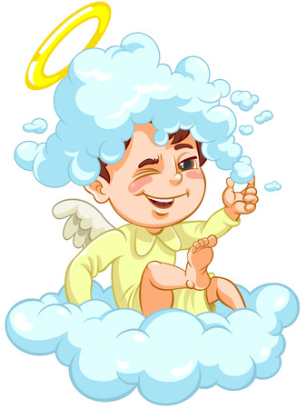 Angel sitting on a Cloud with Hat of Foam