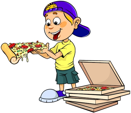 Boy eating pizza Ilustracja