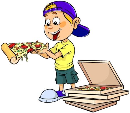 Boy eating pizza Illustration