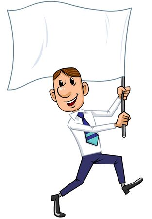 Businessman holding a flag