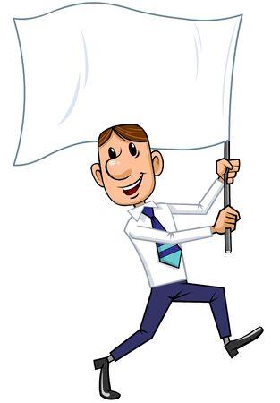 Businessman holding a flag