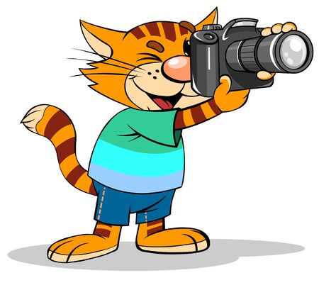 Cute CAT Photographer with photo camera.