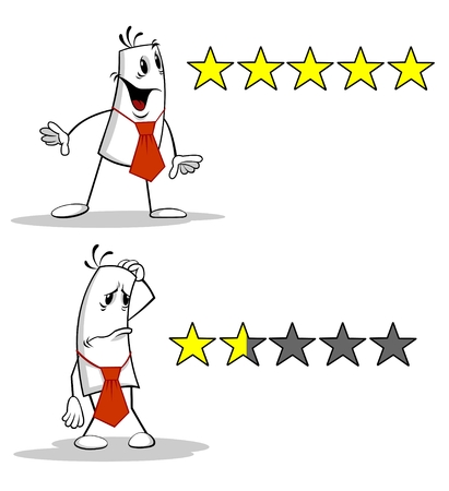 Cartoon karakter en Rating Stars.