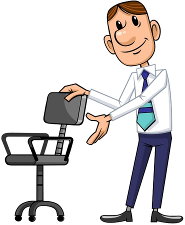 Cartoon manager inviting to sit down.