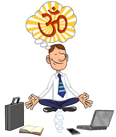 Cartoon zakenman zitten in lotus pose. Stock Illustratie