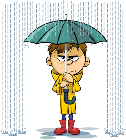 Vector cartoon illustration of a sad kid under a umbrella in rainy day Vectores
