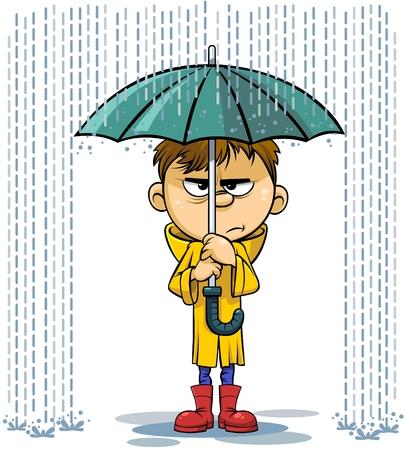 Vectorbeeldverhaalillustratie van een droevig jong geitje onder een paraplu in regenachtige dag
