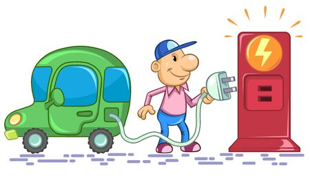 Illustration of a cartoon man charging of an electric car.