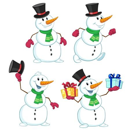 Vector illustration of a cartoon snowman with gifts in hands Ilustração