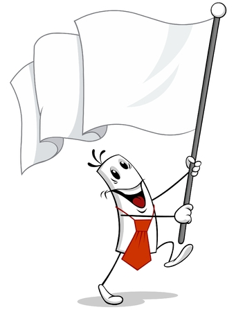 Vector illustration of a walking black and white cartoon character holding White Flag in his arms.
