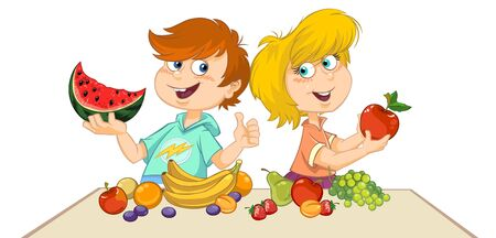 Cartoon children eating fresh fruits Ilustracja