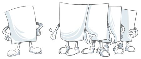 Vector illustration of few blank paper cartoon characters standing in front of each other Çizim