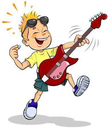 Cartoon little boy playing guitar