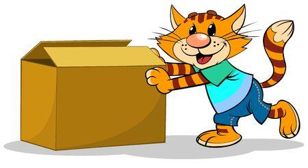 Illustrazione vettoriale di un gatto rosso a strisce del fumetto che spinge una scatola Vettoriali