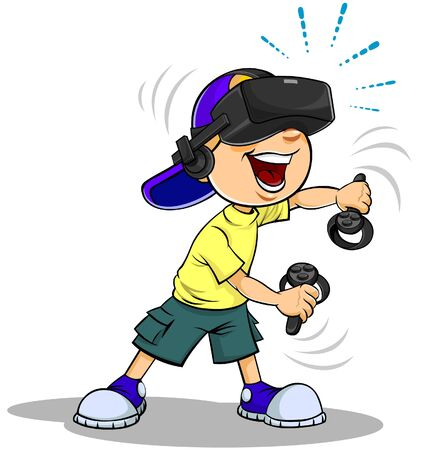 Vector color  of a cartoon schoolboy using virtual reality glasses. Banco de Imagens - 139288185