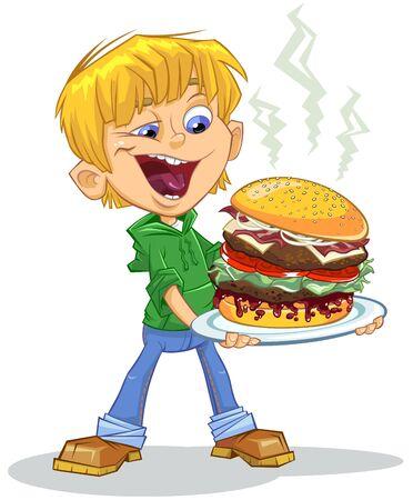 Cartoon boy eating burger Ilustracja
