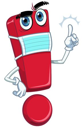 Cartoon red exclamation mark in medical mask Ilustracja