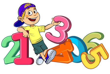A vector illustration of a cartoon smiling boy with colorful digits isolated of white background.
