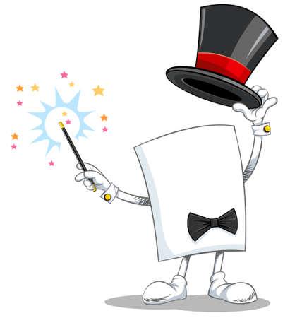 Vector cartoon character magician holding black magic hat and magic wand.