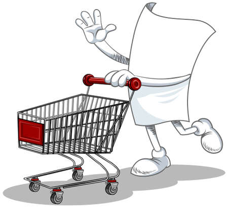 Vector illustration of a cartoon blank paper character with empty shopping cart. Ilustração