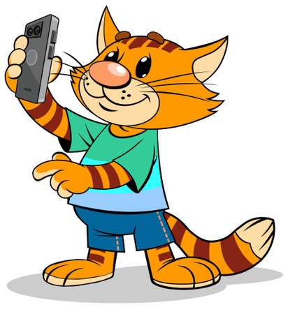 A vector illustration of a cartoon striped red Ñ�at taking a selfie with a smartphone. Ilustração