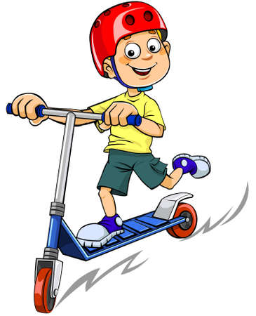 Vector illustration of a smiling boy riding a scooter