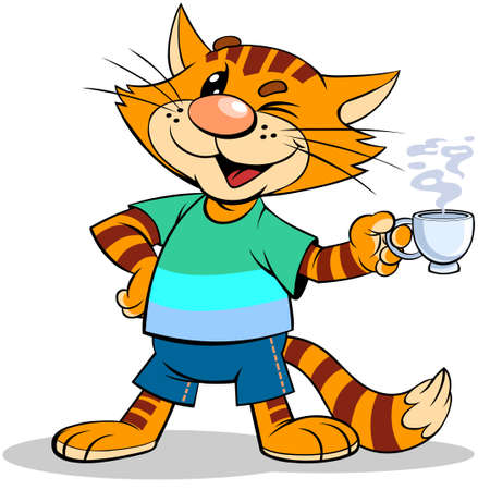 Red cat with coffee. A vector illustration of a cartoon striped red cat holding a steaming cup of coffee.