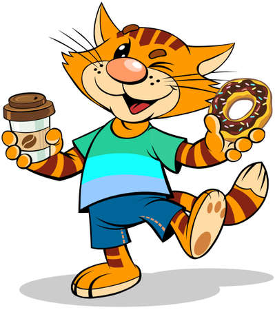 Red cat with donut. A vector illustration of a cartoon striped red cat with coffee to go and donut with chocolate icing.