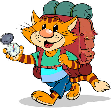Red cat with backpack. A vector illustration of a cartoon striped red cat with backpack and compass Ilustracja