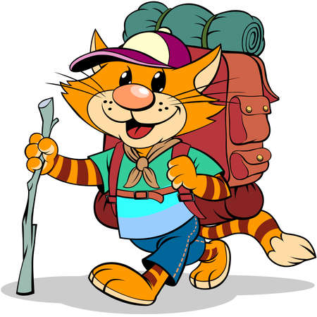 Red cat with hiking pole and backpack. A vector illustration of a cartoon walking striped red cat with backpack.