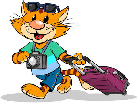 Cat traveler with suitcase. A vector illustration of a cartoon striped red cat traveling with suitcase. Ilustracja