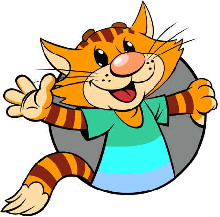 Red cat greeting. A vector illustration of a cartoon smiling striped red cat looks out of the circle and greets with his hand.