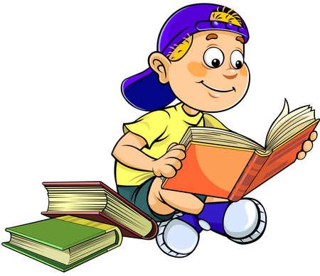 Schoolboy reading a book. A cartoon vector illustration of a smiling teen boy reading a book.