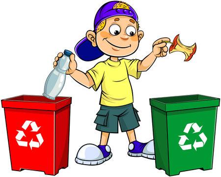 Kid with Garbage. A cartoon vector illustration of a smiling teen boy throwing Garbage in trash bin. Vector Illustratie