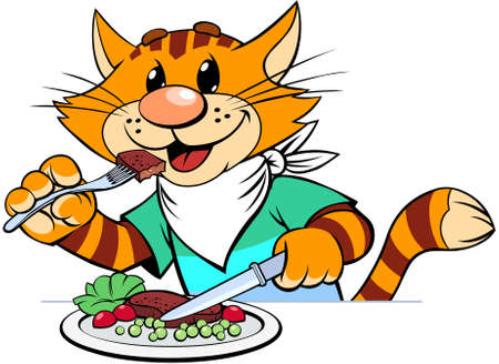 Red cat eating. A vector illustration of a cartoon smiling striped red cat eating a dinner. Ilustracja
