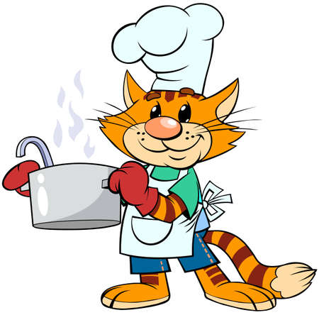 Red cat cook in the cap and apron. A vector illustration of a cartoon red striped cat smiling and holding a soup pot. Ilustracja