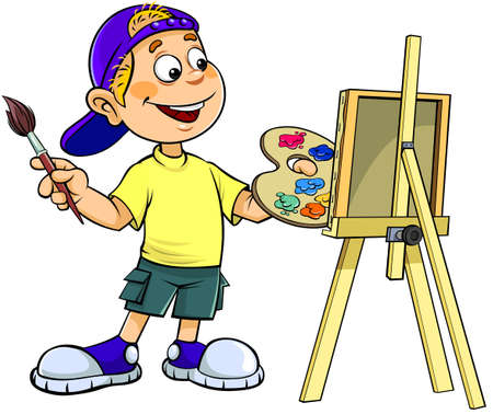 Cartoon boy painting. A vector illustration of a cartoon smiling boy painting on canvas.