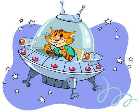Red cat in the spaceship. A vector illustration of a cartoon red striped cat flying through space in the spaceship.