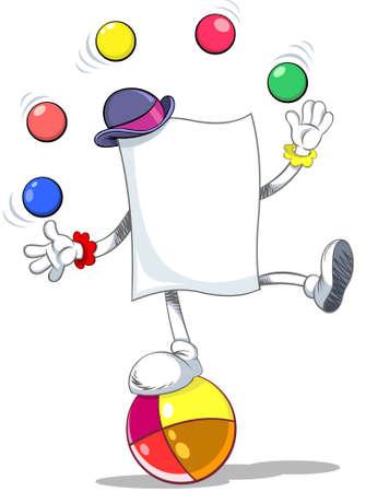 Color vector illustration of a blank paper character juggling balls Ilustração