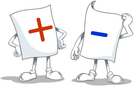 Vector illustration of a cartoon blank paper characters with Plus and Minus symbols. Ilustracja