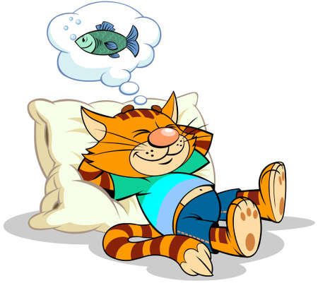 A vector illustration of a cartoon striped red cat having a rest on the pillow and dreaming about the fish.