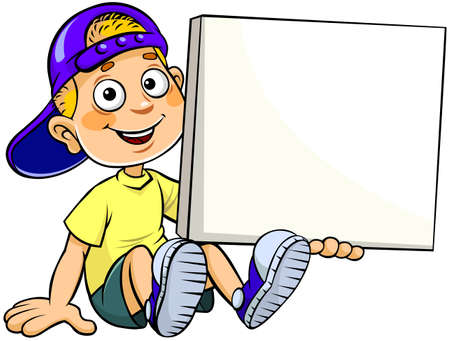 Boy sitting with a banner. A vector illustration of a cartoon sitting and holding a white banner board with copy space for input text.