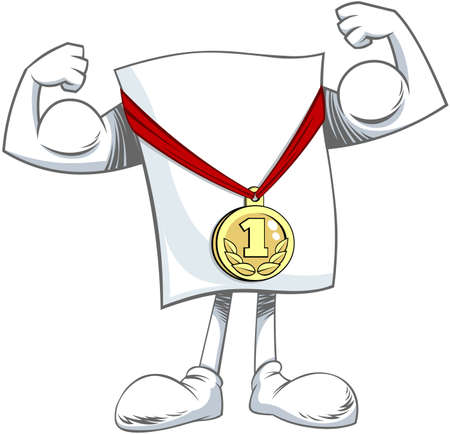 Cartoon character with medal Vector illustration of a cartoon blank paper character posing with gold medal after victory.